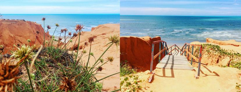 Les falaises rouges et l'océan turquoise